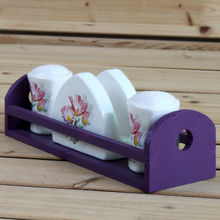 Daisy design ceramic Salt and Pepper shaker and Napkin holder Kitchen Set with wood stand