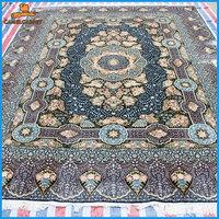 blue quality handmade 100% silk qum persian area rugs