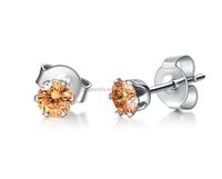 SE08240022 2015 Fashion Stainless Steel Metal Simple Designs Orange Diamond Stud Earrings for Women