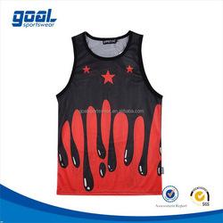 Custom design digital printing breathable mesh fabric basketball tops