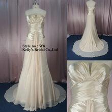 Champagne chiffon strapless sleeveless elegant bridal gown