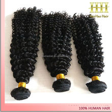 Alibaba de natural color human hair double wefts afro kinky curly brazilian hair