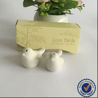 Ceramic Love Bird Pepper Salt Shaker Bottle Wedding Thank You Gifts for Guests