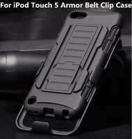 Black Rugged Hybrid Impact Armor Case Hard Cover Kickstand Belt Clip Holster For Apple iPod Touch 5 5th generation