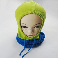 candy color kids knitted Hoodie Muffler
