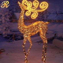 2M high warm white lighted cotton wire reindeer christmas ornament