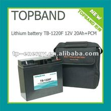 New promtion!! 12V 20Ah lithium prismatic battery pack TB-1220F with bag, leads, and charger