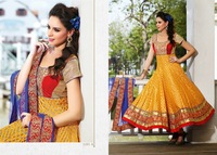 Beautiful Yellow & Red Anarkali Salwar Kameez