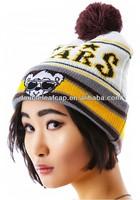 warm winter beanie hat cartoon beanie hat with a top pompom 100% cotton beanie hat
