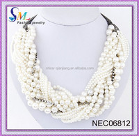 crystal chain pearl necklace in roll