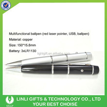 Copper Metal Multifunction Laser Pen with USB