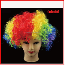 Directly supplier fans crazy wig,color wigs,promotional rainbow wig