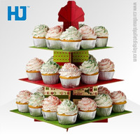 Tiers Paper Cupcake Display , Cardboard Floor Stand for Cakes,Round Carton Exhibition Counter