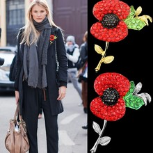 The memorial pins High quality brooch Poppy flower pin silver plating jewelry created diamond self-marketing