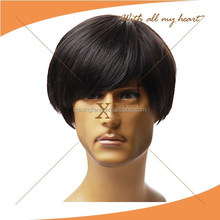 Buying from china!!!! top quality natural looking lace front fashion short black men wigs