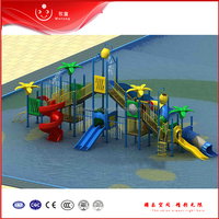 Aquatic park Facility Double drop slide water play structures for sale