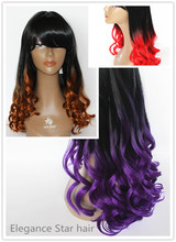 wholesale high quality cheap heated resistant fiber ombre red natural synthetic hair two tone purple color hair wig