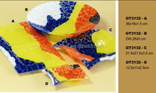 Chinese style fused mosaic Glass fruit dish sets tempered plates for home decoration
