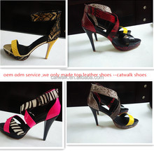 Women leather high heel shoes catwalk shoes 2016 top quality sexy fashion sandals heels