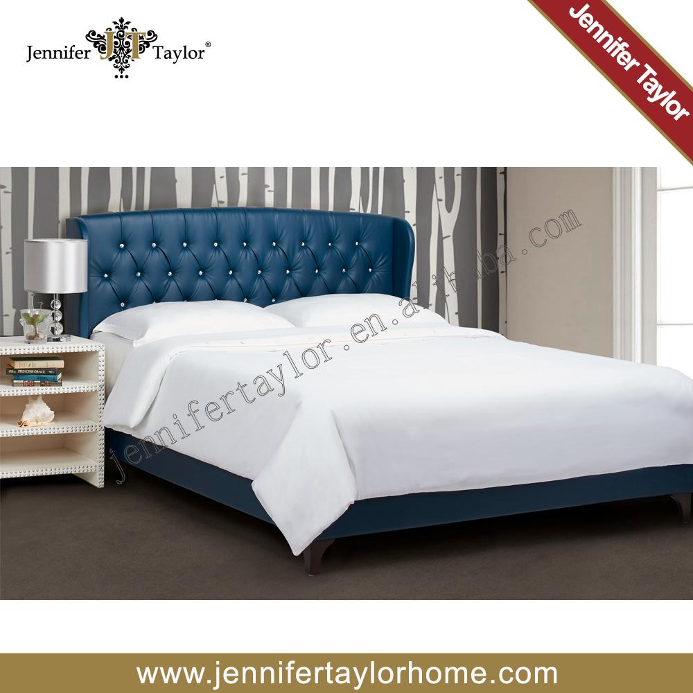 Muebles de dormitorio de lujo de cuero de la PU de lujo diseño China