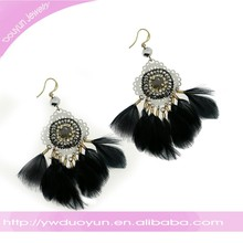 2015 Winter Indian Filigree Black Feather Fashion Earring