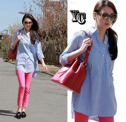 [Star money] autumn women loose striped shirt + pants feet piece fitted