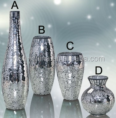 Silver Mirrored Glass Mosaic Vasecrakle Candle Holder For Wedding