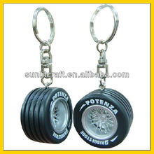 2015 double printed rubber PVC tyre keychains, 3d car wheel tyre key chains new style good for promotion tyre keyring