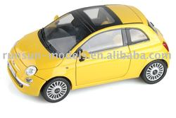 die cast yellow toy car with free wheel