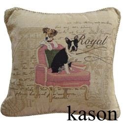 two dogs on chair design wholesale woven fabric jacquard home decorative sofa cushion cover