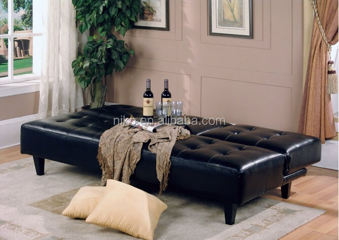Modern Folding Futon Cheap Leather Sofa Bed With Cup Holder Black Mk2001