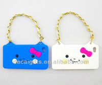 Cat face mobile phone silicon case with chain