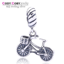 Antiaue 925 Sterling Silver Charms Wholesale Women Jewelry European Bicycle Floating Charm Beads For DIY Bracelets