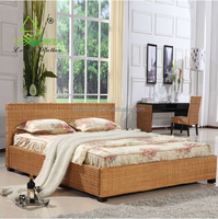 China High Quality Customerized 5,7 Star Leisure Natural Rattan Wicker Hand Woven Resort Hotel Bedroom Furniture Set