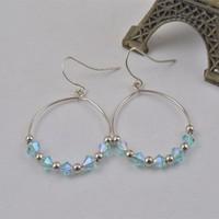 E2657-01Sky Blue Crystal Bead Hook Earrings Silver Tone Dangle Eardrop New