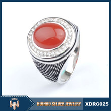 mirco setting cz vintage silver ring with red stone