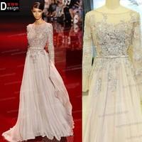 Newest Long Sleeve Muslim Gray Chiffon Arabic Alibaba China Fashion Dress