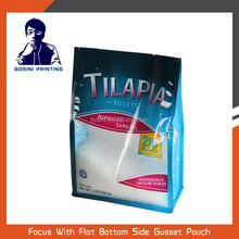 Frozen ocean food plastic stand up packaging bag and clear window flat bottom side gusset bag