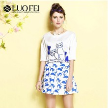 OEM China supplier newest fashion blue kitten print A line short skirts for women