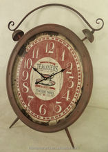 Antique rust metal double bell table clock for interior decoration