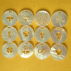 handicraft carved mother of pearl shell round chips