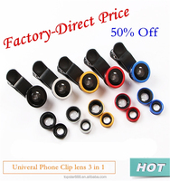 Factory-Direct Price Universal Mobile Phone Camera Lens for Android and iOS Fisheye Wide Angle Macro 3 in 1