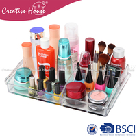 Hot sale decorative crystal clear custom tabletop acrylic make up cosmetic storage makeup organizer