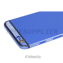 2015 top quality and most popular for iphone 6 6 plus blue luxury back housing panel diamond plated