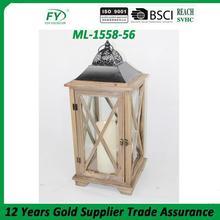 Fashionable design decorative garden wooden lantern wholesale lanterns with CE certificate