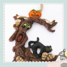 Tree Shaped Human Pumpkin Figurine Resin Halloween Crafts