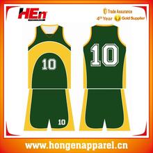 Hongen appeal color green basketball jersey custom team name/basketball jersey top shirt