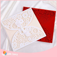 Lace Die Cut Pocket Fold For Wedding Invitations