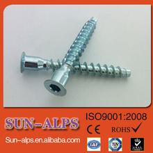 high quality zinc plated hex socket furniture screw, furniture screw covers