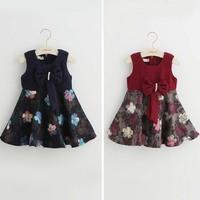 Tav1087New autumn children dress flower wool kids dress with bowknot